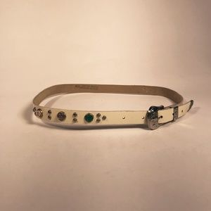 Thin White Leather Belt with Colorful Rhinestones
